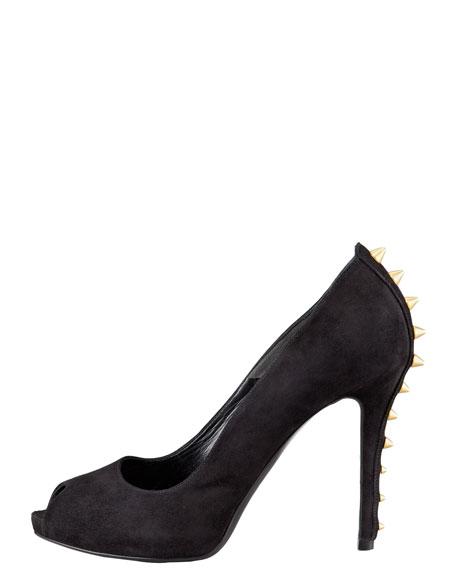 Studded-Heel Peep-Toe Suede Pump, Black