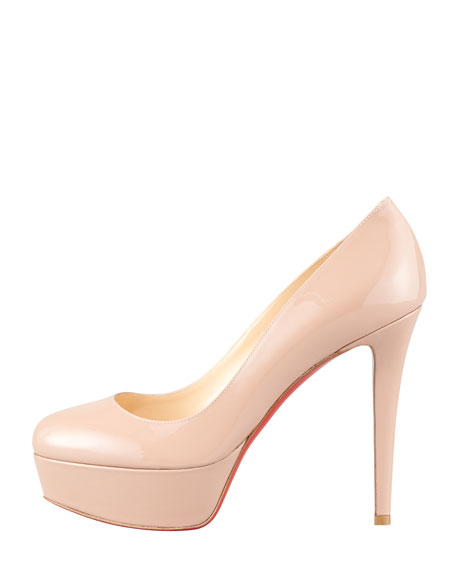 Bianca Almond-Toe Platform Red Sole Pump, Nude