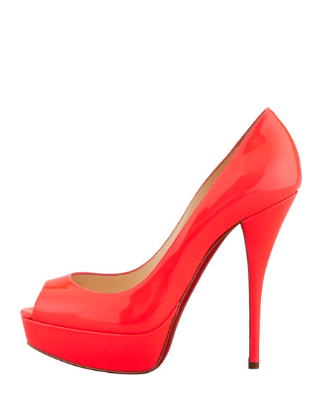 Troca Fluorescent Patent Red Sole Platform Pump, Rose