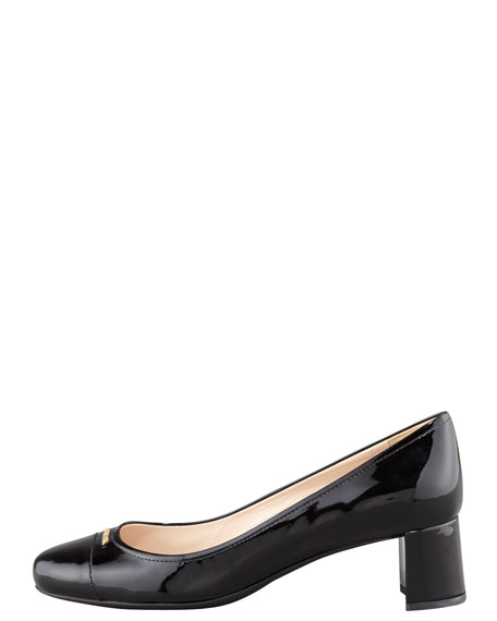 Patent Cap-Toe Leather Pump, Black