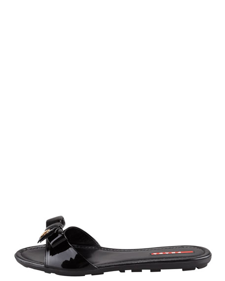 Patent Leather Logo Bow Slide Sandal, Black