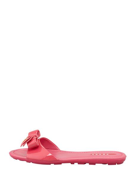 Patent Leather Logo Bow Slide Sandal, Fuchsia