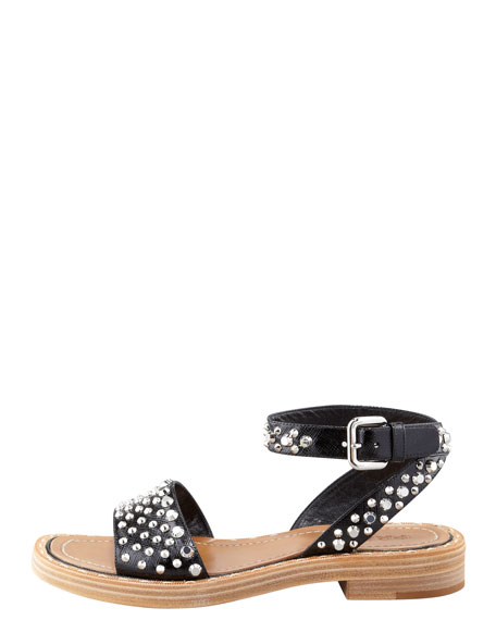 Studded Saffiano Leather Flat Sandal, Black