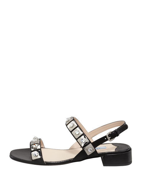 Jeweled Double-Strap Sandal, Black
