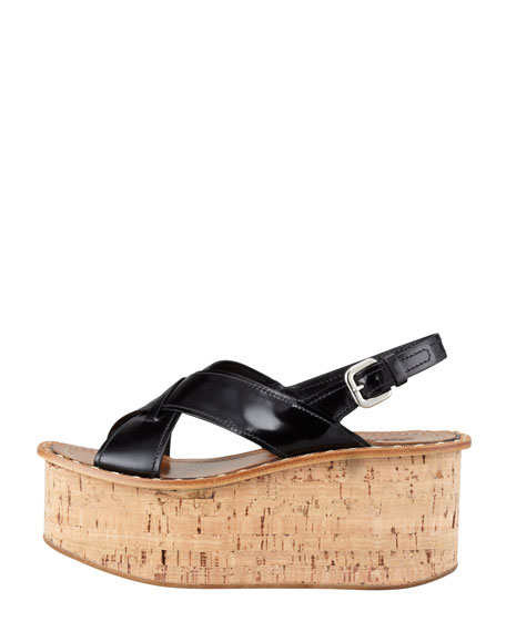 Spazzolato Crisscross Cork Wedge