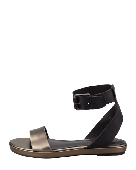 Abbey Ankle-Strap Sandal, Black/Lead