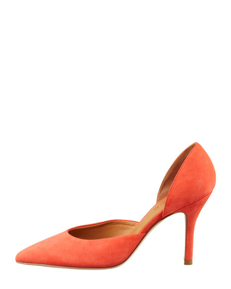 Celeste d'Orsay Pointed-Toe Pump, Coral