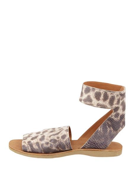 Sadie Ankle-Strap Flat Sandal, Natural