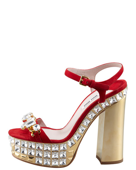 Jeweled Suede Platform Sandals