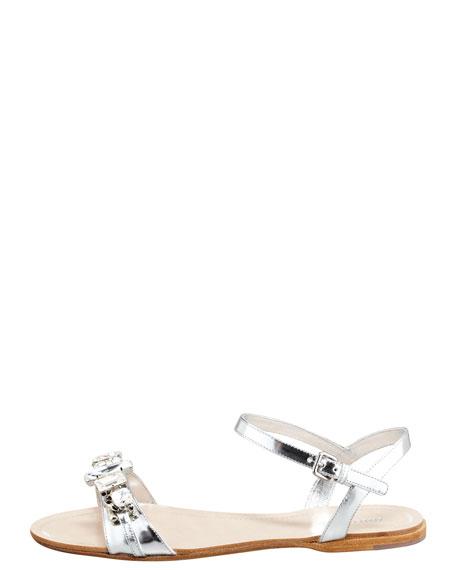 34bd4202c Miu Miu Crystal Strap Flat Sandal