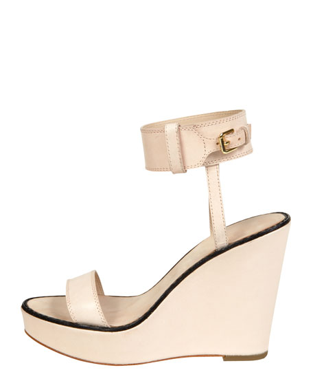 Brit Ankle Cuff Wedge Sandal, Natural