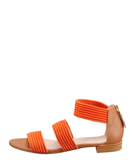 Ligament Ottoman Elastic Flat Sandal, Orange