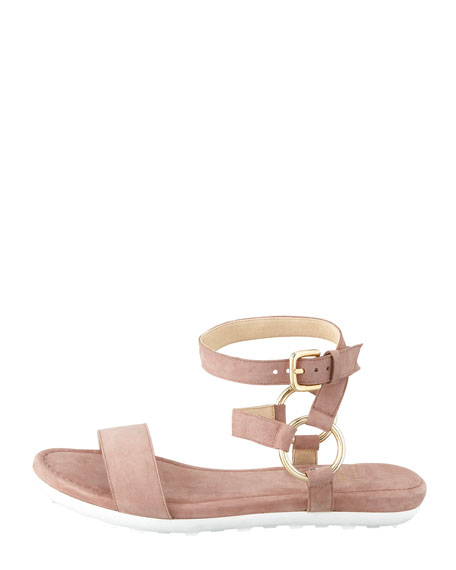 Ringo Ankle-Strap Flat Sandal, Nude