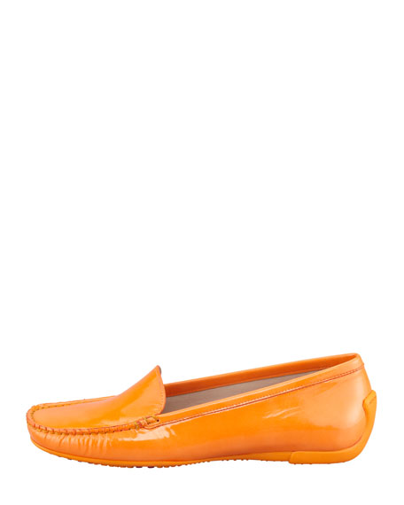 Mach 1 Patent Leather Driver Moccasin, Papaya Orange