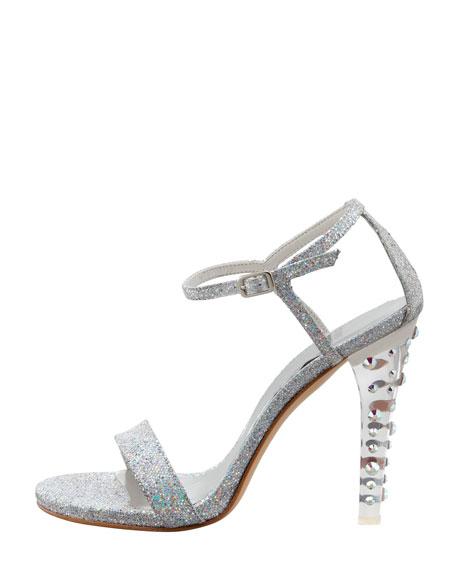 Glittony Lucite-Heel Glitter Sandal
