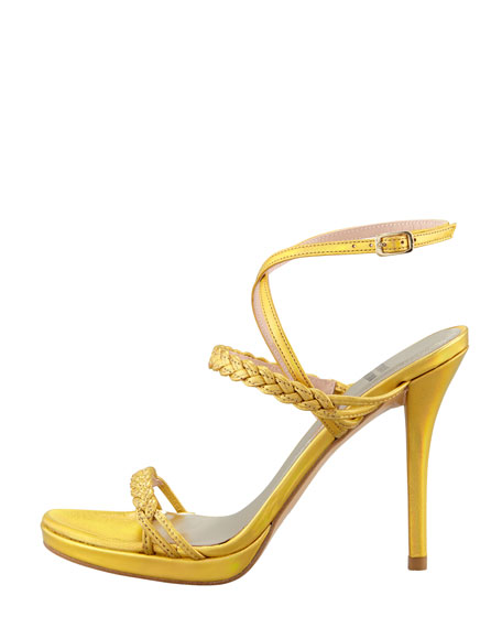 Coucher Braided Specchio Leather Hologram Sandal, Old Gold
