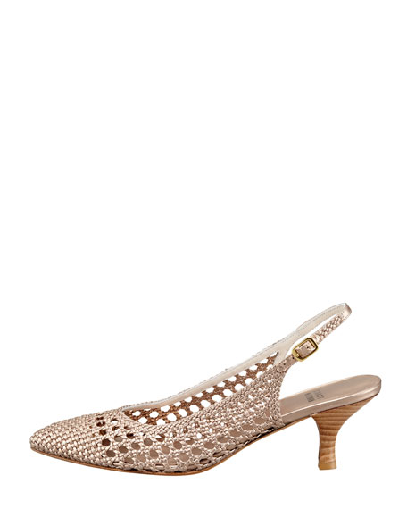 Meeting Woven Leather Kitten-Heel Slingback, Beige