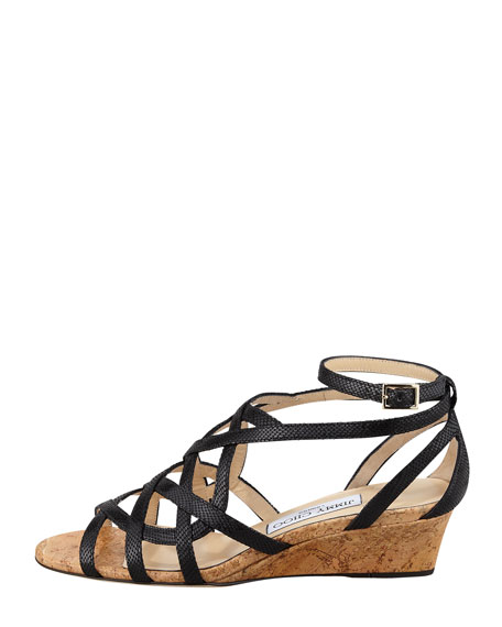 Dawn Metallic Leather and Cork Wedge, Black