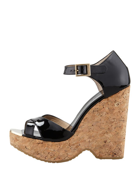 Pape Patent Wedge Sandal, Black