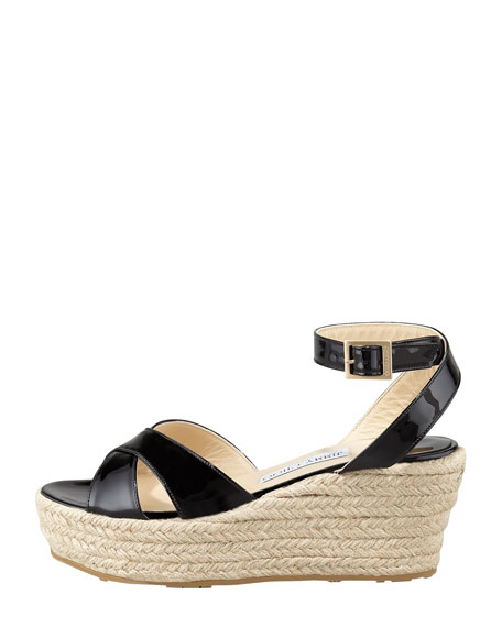 Pepper Patent Leather Espadrille Wedge Sandal, Black