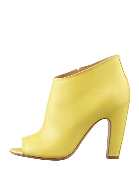 Leather Peep-Toe Ankle Boot, Yellow