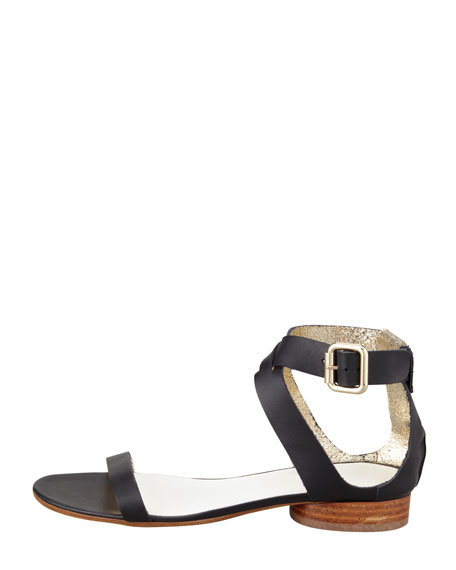 Ankle-Cuff Flat Leather Sandal