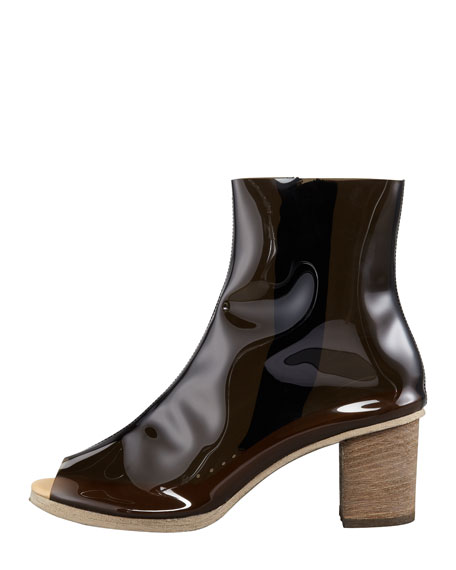 PVC Peep-Toe Ankle Boot