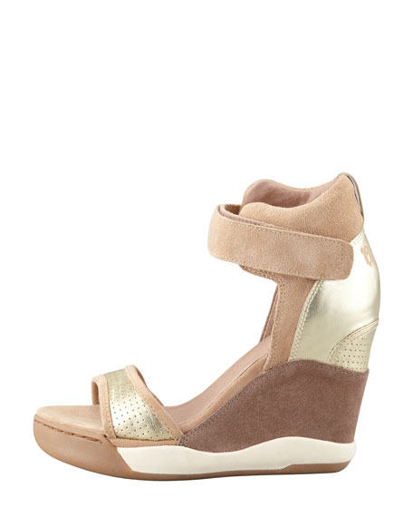 Suede Wedge Sneaker, Chamois