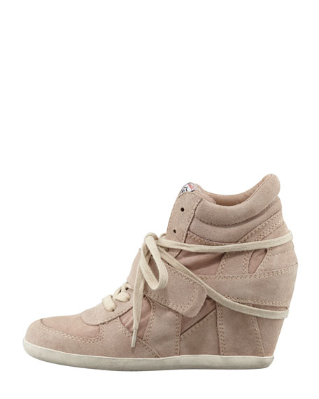 Suede & Canvas Wedge Sneaker, Chamois