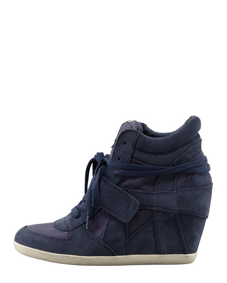 Suede Wedge Sneaker, Navy
