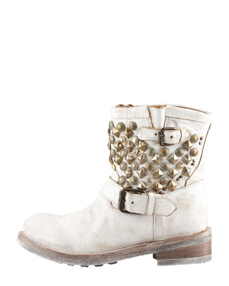 Titanic Studded Motorcycle Boot, White