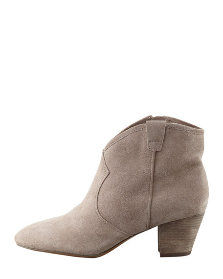 Suede Low-Heel Ankle Boot