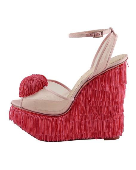 Gigi Fringe Wedge Sandal, Pink