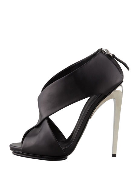 Crisscross Leather Sandal, Black