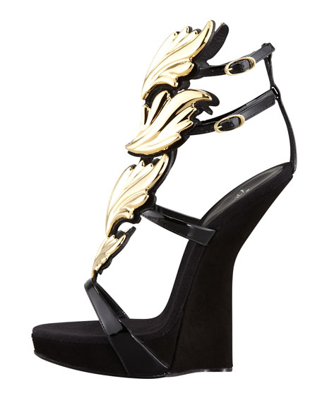 Patent Leather and Suede Sandals with Leaf Detail