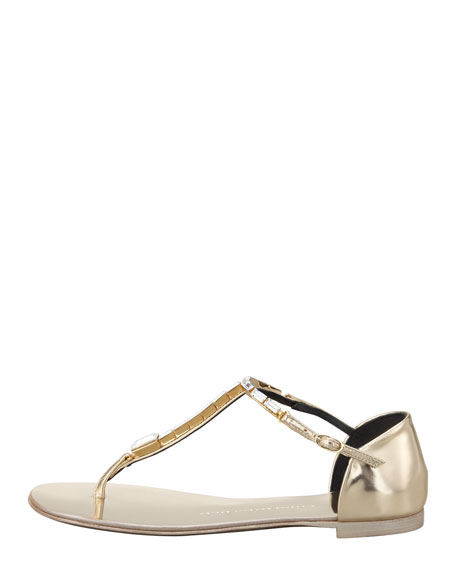 Jeweled T-Strap Flat Thong Sandal, Gold