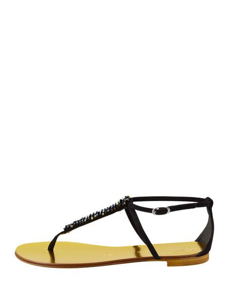 Crystallized T-Strap Sandal