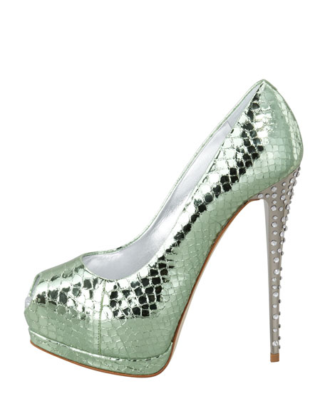 Metallic Snake-Embossed Pump, Green