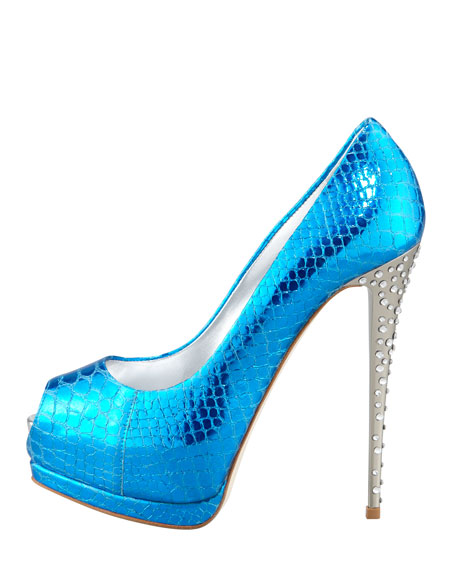 Metallic Snake-Print Pump