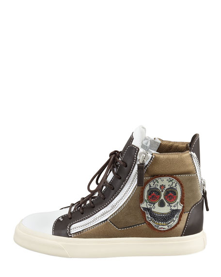 Skull-Embroidered Hi-Top Sneaker