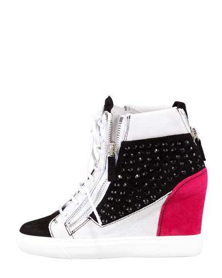 giuseppe zanotti crystal colorblock wedge sneaker black