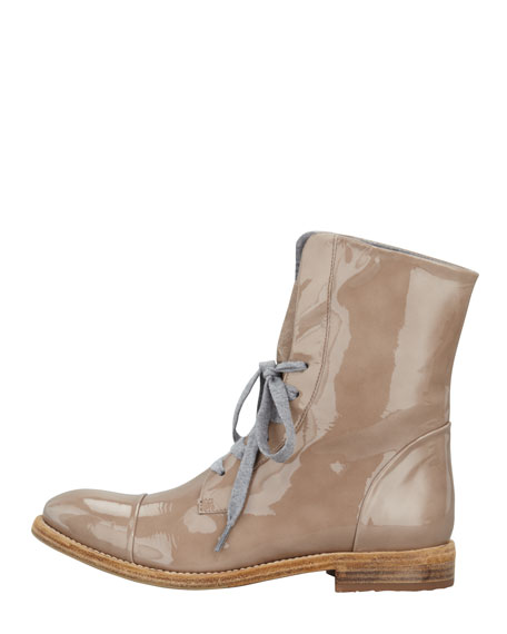 Patent Lace-Up Work Boot, Mushroom
