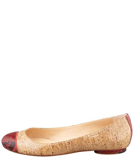 Python-Cap Cork Ballerina Flat, Red