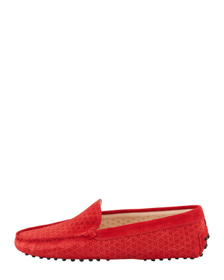Suede Perforated Gommini Moccasin, Red