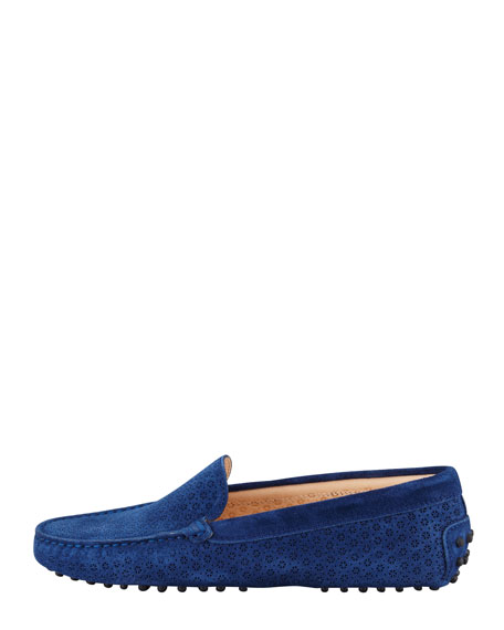 Suede Perforated Gommini Moccasin, Navy