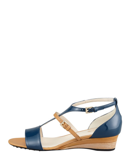 Patent T-Strap Wedge, Blue