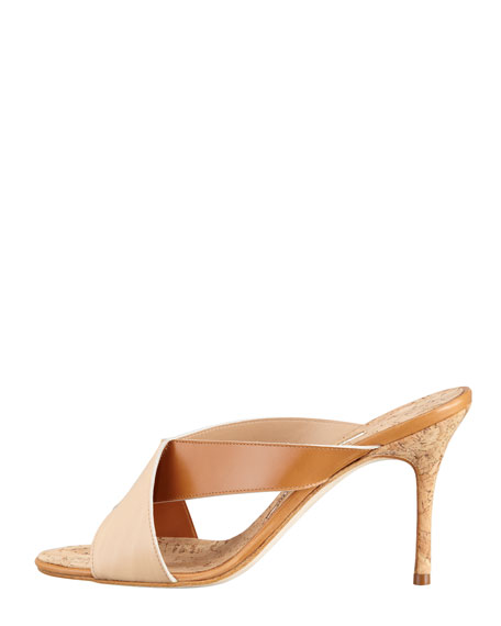 Dalema Cork and Leather X-Cross High-Heel Slide