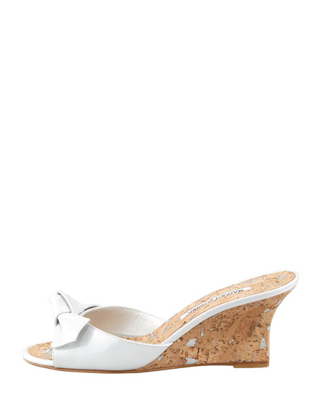 Liss Bow Slide Cork Wedge, White