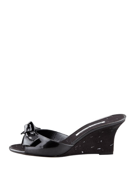 Liss Bow Slide Cork Wedge, Black