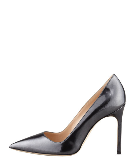 BB Point-Toe Metallic Pump, Black Titanium